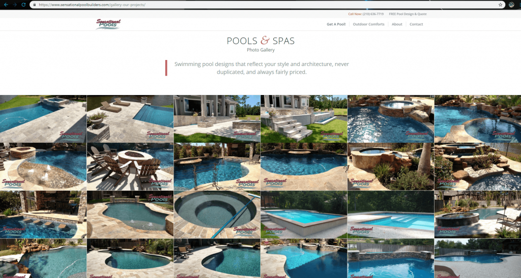 Swimming pool comapny website design marketing project for Pool design website